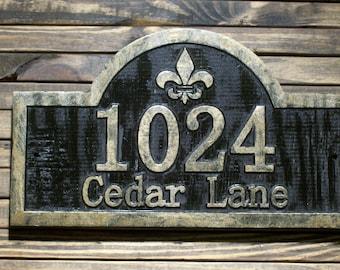 Fleur De Lis Address Sign Antique Brass Finished Wood Custom Carved