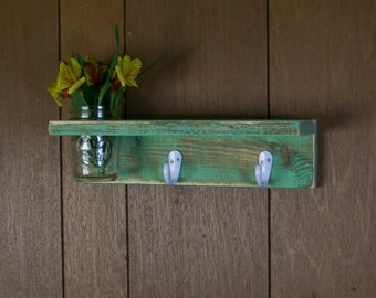 Distressed Wood Hanger Hooks with Shelf and Flower Vase