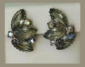 Vintage Rhinestones Earrings, Soft Green Aurora Borealis, Designer style