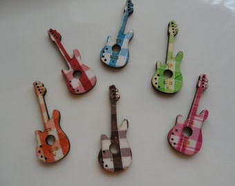 6 Colorful Wood Guitar Charms Plaid Fabric Tops for Scrapbooking Jewelry Making