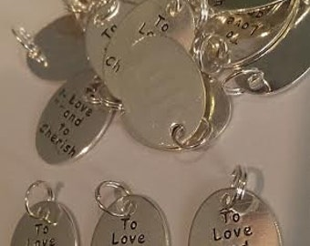 CLEARANCE 25 Silver Plate Wedding Charms - To Love and to Cherish - Shower Invitation or Announcement Embellishment Favors Gift Topper