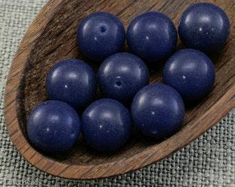 12mm blue beads, round gemstone style, Czech glass - 10pc last