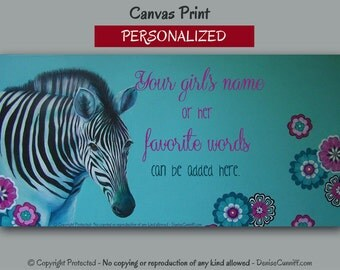 Zebra girls room decor, Personalized girls art, Teal blue & pink decor, Zebra canvas art print, Girls bedroom wall art, Zebra decor, Artwork