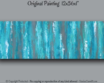 Teal Abstract Canvas Painting, Teal Shabby Chic Home Decor, Teal Painting,  Gray Teal