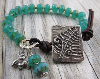 Emerald green beaded leather bracelet, fern bracelet,botanical bracelet, rustic bracelet, boho bracelet, wynnes whimsies