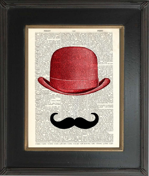 Moustache and Red Bowler Hat on repurposed Vintage Dictionary Page mixed media digital home and living