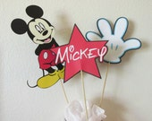 3 Mickey center pieces-cake toppers-party decorations-Mickey on a stick