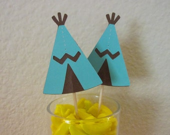 12 Teepees, southwest cupcake toppers-teepee appetizer picks, tribal teepee toppers