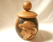French Vintage Breton Hand Carved Wood Tobacco Jar / Humidor (A940)
