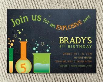 Mad Scientist Experiment Explosion Birthday Invitation: Digital File