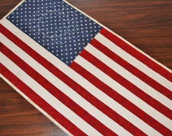 American Flag Primitive Quilted Wall Hanging, Table Runner, America Fourth of July Decor, Mini Quilt, Handmade Homemade Patriotic Decor