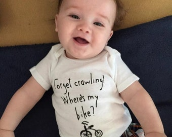 Bicycle baby clothes/Baby cycling short sleeve bodysuit/Baby gift/Baby bike humor clothing