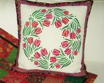 Stencilled Tulip Wreath Pillow Cover