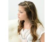 Gold Colored Monogram Heart Initial Custom Headband Woodland Light Vintage Brass Toned Metal Headband Vintage Style Bronze Toned Simple