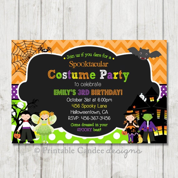 costume party halloween birthday invitation diy custom printable