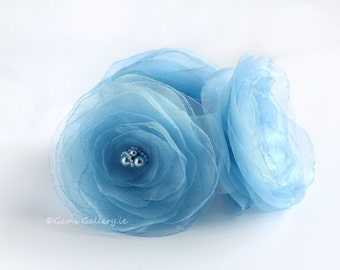 Sky Blue Bridal Sash, Satin and Organza Wedding Flower Belt