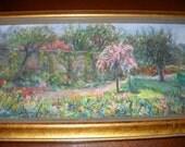 SALE - Painting, Vintage, Original, Impressionistic, Monet, Garden, Pastels, Country, Cottage, Frame, Romantic,