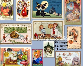 Digital Vintage Halloween Clip Art Images - Instant Download - Downloadable - CU / Commercial / Personal Use ok