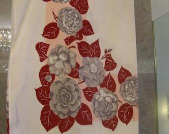 "Flowered Tablecloth 64"" X 54"" Vintage"