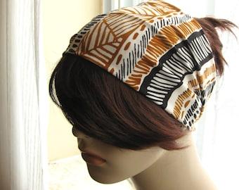Black Caramel Brown Turban, Tribal Head Wrap, Hair Tube, Womens Headband, Yoga Headband, Turband, Hair Accessories Gift for Her