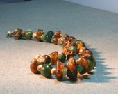 Raw natural amber pieces with Opal, Jasper and Aventurin. Natural amber statement necklace.