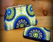Madeleine, Vibrant Green & Blue Medallion Cotton Print Fabric Metal Frame Clutch Purse