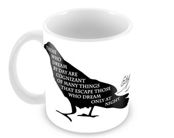Poe Raven Ceramic Mug with Quote and Signature and Choice of 5 Mug Styles