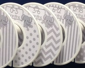 Custom Baby Closet Clothes Dividers Organizers in Grey White Elephants Chevrons Dots Stripes CD206 Boy Girl Baby Shower Nursery Gift