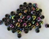 100 Opaque Black Iridescent  Pony Beads -   9mm Acrylic/ Plastic