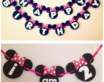 Simple Minnie Mouse Birthday Banner and High Chair Banner - Mickey Mouse Banner - Disney birthday party - New Options