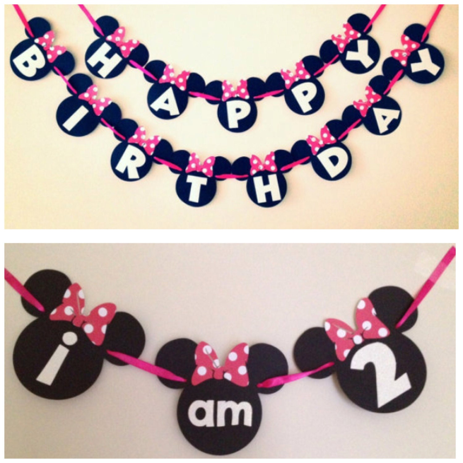 simple minnie mouse birthday banner and high chair banner