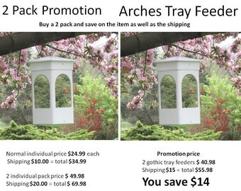 Special 2 piece promotion White hanging PVC bird feeder - Fully functional, EZ fill EZ clean strong modern affordable bird feeder promo