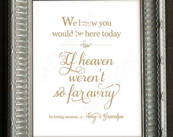 PERSONALIZED Wedding Day 1 We know you would be here today if heaven weren't wasn't so far away in memory of DIY CUSTOM Printable 8x10 sign