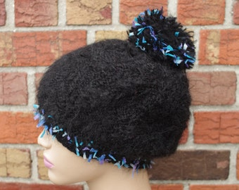 Black mohair and wool beanie hat with pom pom