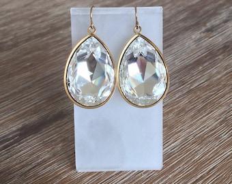 Swarovski Crystal Teardrops in Gold