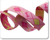 Pink Argyle Jacquard Dog Bone Ribbon