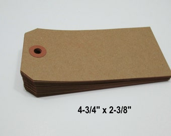 "200 KRAFT Luggage Style Tags, 4 3/4"" x 2 3/8"" - Gift, Parcel, Wish Tags, Luggage Tags Blank"