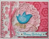 Handmade, Stamped Birthday Card in Pink, White, and Teal