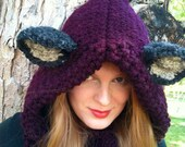 Fox Hoodie - Animal Hat - Chunky Hood - Chunky Knit Cowl - Winter Hat - Animal Ear Hoodie -Fox Hat - Winter Fashion -Women's Knit Hat