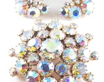 Rhinestone Brooch Earring Set Mirror Finish Aurora Borealis Bubble Brooch Matching Earrings Demi