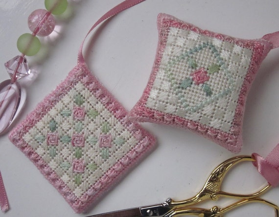 Canvas Work Embroidery Digital Pattern Rosebud Bookmark