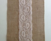 SALE 12 FT - 12x144 Vintage Champagne Burlap Lace Table Runner, Champagne Wedding Decor, Lace Overlay