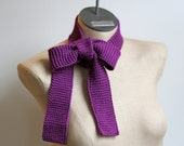 WINTER SALE Ready to Ship: Royal Purple Hand Knitted 100% Mercerized Cotton Skinny Scarf Belt Tie - AmyLaRoux