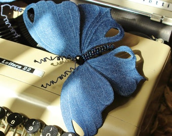 Denim wedding, butterfly headband, fabric butterfly, butterfly gift, denim accessories, large butterfly