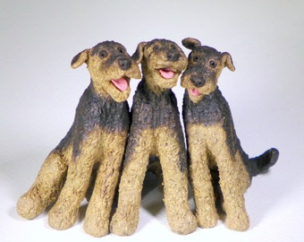 Custom Sculpture Whimsical Airedale or Welsh Terrier Ceramic Sculpture, your choice of pose