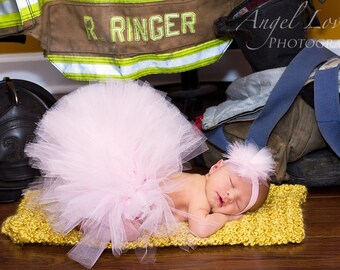 light pink tulle tutu, matching headband, newborn photo prop, newborn tutu ,baby gift, newborn picture outfit