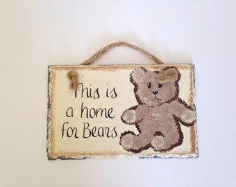 Vintage Slate Wall Hanging, 'This is a Home for Bears'