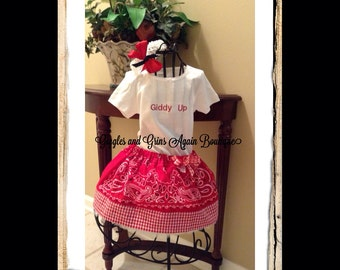 Giddy Up Cowgirl Bandana Twirl Skirt with Tutu Pettiskirt - Hairbow Included - 6 to 24 months - 2 to 6x