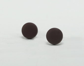 Brown Stud Earrings - Brown Studs - Matte Brown Earrings - Brown Posts - Mens Earrings - Mens Studs - Earrings for Men - Matte Brown Studs