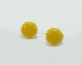 Yellow Stud Earrings 14mm - Yellow Earrings - Yellow Post Earrings - Hypoallergenic - Surgical Stainless Steel Ear Stud